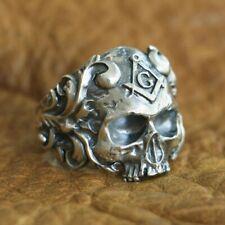 925 Sterling Silver Masonic Skull Ring Mens Biker Punk Ring TA116A US 7~15