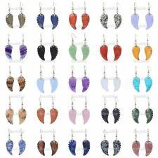 30mm Carved Rock Gemstone Crystal Angel Wing Healing Handmade Dangle Earrings