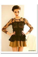 Joanne Kitten Sheer Neckline & Sleeves Mini Tiered Dress in Beige/Black JK-0165