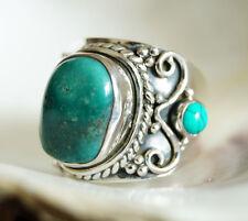 Handarbeit Ring Silber Türkis 55 59 60 Silberring Antik Verspielt Bandring Breit