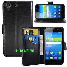BLACK WALLET CARD SLOT stand GEL CASE FOR HUAWEI Y6 UK FREE DISPATCH