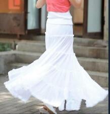 Womens Summer Long Skirts High Waist Solid Loose Big Swing Cotton Linen Casual