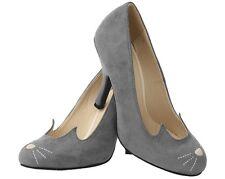 T.U.K. Sophistakitty Kitty Ears Bombshell Stiletto Grey High Heel Shoes Vegan