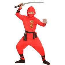 Rojo Ninja Traje Niño Disfraz de samurai Kung Fu Niños Deporte combate Carnaval