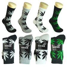 12 Pairs New Men's Athletic Crew Marijuana Sport Socks Cotton Size 9-11 10-13
