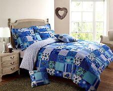 Blue Floral Print Patchwork Stitch Trail Duvet Cover & Pillowcase Bedding Set