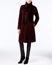 Jones New York JW5MV446 Burgundy Wool Blend Knee Length Button Winter Coat, $275