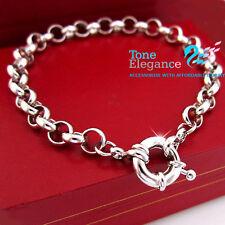 18k white gold GF belcher bolt ring chain solid womens mens bracelet bangle