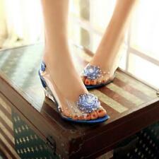 Women's Rhinestone Flower Peep Toe Wedge Heels Slingback Sandals Casual Shoes #