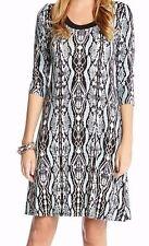 Karen Kane Mist Blue 3/4 Sleeve Python Stretch Jersey A-Line Dress - MSRP $109