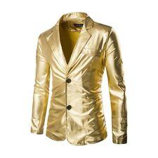 Men's Lapel Slim Fit Jacket Pants Suits Two Button Bar Singers Shiny Costome New
