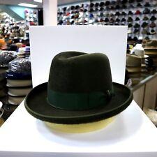 BORSALINO OLIVE GREEN LONG HAIR FUR FELT HOMBURG DRESS HAT *READ BELOW 4 SIZE