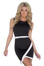 Robe de soirée moulante noire à bandes blanches sexy coquin clubwear libertin