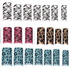 100 Royal Acrylic False Nail Tips Animal Desing Print White Blue Pink Brown Tip