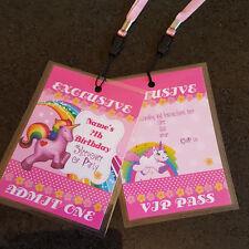 Personalised Vip Rainbow Unicorn Pass Lanyard Birthday Party Invite Girls