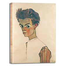 Schiele autoritratto camicia righe quadro stampa tela dipinto telaio arredo casa