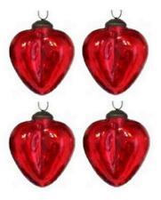 "Culturas Trading 3"" Mercury Crackle Glass Heart Christmas Ornament Set of 4"