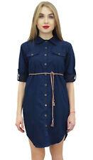 Bimba Women's Denim Short Dress Dark Blue Shirt Classic Collar Neck Dresses