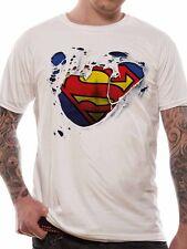 Superman Logo Torn Tshirt Classic Official DC Comics Man of Steel White Mens Tee
