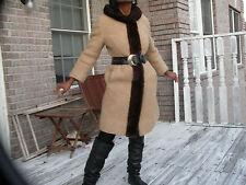 Elegant Classy Unique Vintage brown boucle wool & mink fur trim Dress Coat S-6