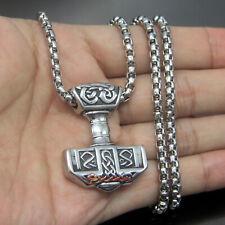 "THOR/'S HAMMER/_Pendant on 20/"" Chain Necklace/_Mjolnir Viking Norse Celtic/_185N"