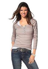 FLG Camiseta para señoras Suéter De Manga Larga Algodón Rayas 454927