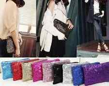 Clutch mit Pailletten verschiedene Farben Style mit Reissverschluss Handtasche