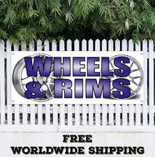 Banner Vinyl WHEELS RIMS Advertising Flag Sign Tread Retail Auto Repair Service