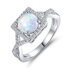 18k White Gold Plated Women Square Shape Opal Wedding Ring Bridal Ring R195