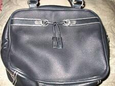 ESPRIT BLACK LEATHER HANDBAG PURSE BAG CHROME WITH TASSEL
