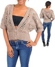 WOMENS sweater cardigan Vest crochet Kimono dolman sleeve one size