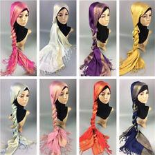 Muslim Women Hijab Tassel Long Scarf HeadWrap Islamic Big Shawls Hat Scarves Cap