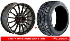 Alloy Wheels & Tyres 8.0x18 Axe EX23 Black Polished Lip + 2254018 Tyres