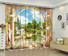 Blockout Drape Fabric 3D Nature Sea Garden Scenic Printing Window Curtains Mural