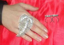 anello doppio dito FOGLIA FILIGRANA PL ARGENTO made in italy