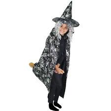 HALLOWEEN costume bambina STREGA argento mantello+cappello tg. unica