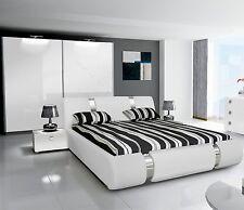Komplett Hochglanz Schlafzimmer RIVA II Mit Designer Polsterbett Weiß O.  Schwarz