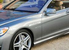 Mercedes Benz AMG CL63 E63 S65 CL65 G55 Decal sticker emblem logo WHITE (Pair)