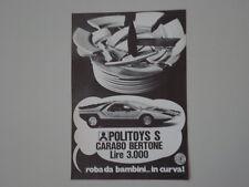 advertising Pubblicità 1971 POLITOYS CARABO BERTONE