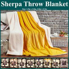 Ultra Plush Micro Mink Faux Sherpa Lambswool Throw Blanket Reversible Luxurious