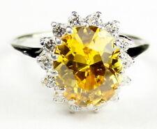 • R283, 12x10mm, Golden Yellow CZ, 10k White Gold Ladies Ring -Handmade