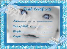 "BLUE BABY BOY BIRTH CERTIFICATE/CERTIFICATES 4 REBORN FAKE BABY approx 7""x 5"""