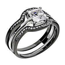 Black Gold EP Sterling Silver Women Wedding Band 3 pc Bridal Engagement Ring Set