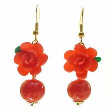 Boucles d'oreilles perle en pierre Fleur rose en fimo ROUGE VIF - idée cadeau