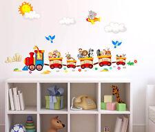 Adesivi Murali Bambini Trenino con animaletti viaggiatori Zoo Wall Stickers