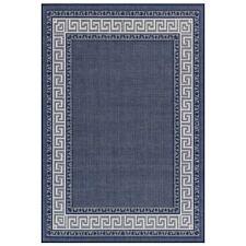 NAVY BLUE Kitchen Utility Plain Runner Rug Sisal like Greek key Non slip Flatrug