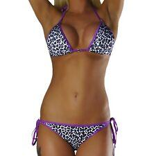 Damen Neckholder Bikini Set Top Hose Lila Leopard Leo Gr. XXS S L NEU