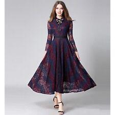 Elegante abito morbido donna viola pizzo raffinato senza maniche comodo 3391