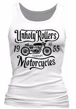 Unholy Rollers ladies Tank Top Biker skull motorcycle rock bike classics womens