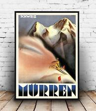 Murren  : Vintage Travel advertising , Wall art ,poster, Reproduction.